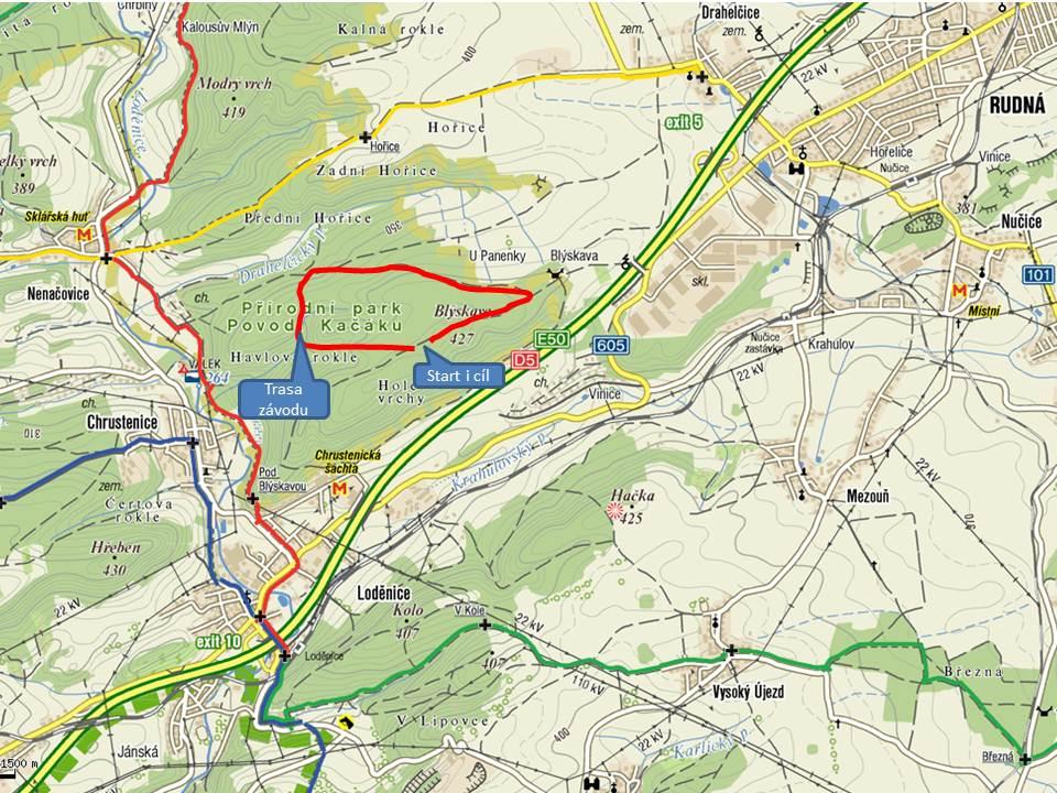 mapa-rudna Závod vlčat a světlušek 14. 4. 2012